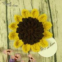 Originale 11 cm girasole crochet crochet pad pad fatto a mano tazza tappetino foto puntelli decorativi placemat fai da te abbigliamento accessorio 20pcs / lot y1127