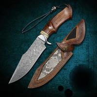 Damasco acciaio acciaio acciaio e deserto ferro in legno manico in legno fisso lama coltello da campeggio all'aperto sopravvivenza tattica coltello dritto coltello da corsa EDC strumento