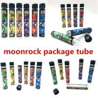 Moonrock Packagings Vape Cartridges Imballaggio Tubi di vetro Tubi vuoti Bottiglia vuota Preroll Pacchetti congiunti Punta in plastica 120 * 20mm Dry Herb Confezione Tubo con adesivi