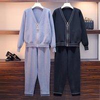 Hamaliel M-4XL Plus Taille Taille Femmes Jupe Jupe Cuivre Spring Fermeture à glissière Spring 2pcs Cours de piste + Pantalon de taille élastique Costumes Y200110