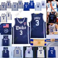 Duke Basketball Jersey NCAA College Carey JR Stanley Trainer K Hill Laetner Williamson Carter Jr. Duval Jones Irving Redick Tatum Brakefield