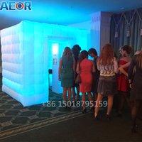 AEOR portátil 8 pies CUBO inflable TENT LED LED Photo Booth Teldedrop Wall para Party Boda Publicidad Eventos Pantalla para la venta Z1123