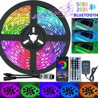 적외선 / 블루투스 / 와이파이 LED 스트립 조명 RGB 5050 2835 다이오드 DC 12V 5M 원격 제어 + 어댑터가있는 유연한 램프 테이프 리본