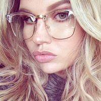 Venta al por mayor-Medio marco Gafas transparentes Myopia Clear Marco Glasses Mujeres Hombres Espectáculo Marco Oro Claro Lente Óptico Vidrio Luneta