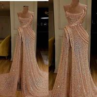 2020 Glitter Mermaid Abendkleider Champagner Pailletten Side Split Spitze Formale Partykleider Maßgeschneiderte lange Ballkleider