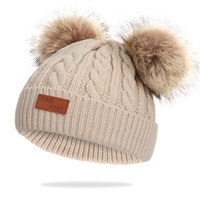 New Winter Cute Kids Baby Cotton Hats Beanie Cap Double Pompom Ball Hats Faux Raccoon Hair Ball Cap Infant Boys Girls Solid Soft Knitted Hat