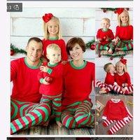 3 cores Xmas da família dos miúdos Adulto Matching listrado Cervos do Natal Pijamas Pijamas Pijamas Pijama bedgown sleepcoat nighty Pijama FY9250