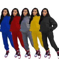 Herbst Winter Frauen Sweatsuits Hoodies Hosen 2 Stück Sets Sportanzug Langarm Casual Kleidung 2XL Pullover Capris Trainingsanzüge 4315