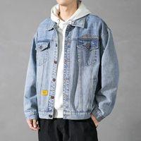 Мужчины джинсовая куртка Осень Новый мужской воротник джинсов куртки писем напечатанный мужской повседневная улица хип-хоп Свободная джинсовая вертикальная одежда JJ2