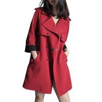 Trenchs de Femme Coats QPIPSD 2021 Spring Automne Casual Veste Casual Breaker La section longue du vent Couleur solide grande taille