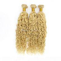 Nuovo arrivo Honey Blonde Virgin Capelli Acqua Wave 3pcs Fragola Bionda Bionda Bagnata e Wavy Hair Weftts # 27 Light Brown Hair Hair Haite