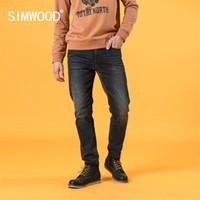 Simwood outono inverno novo slim cônico retro jeans homens vintage preto denim calças marca roupas sj131045 201111