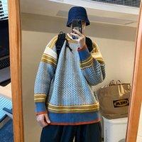 Maglioni da uomo inverno inverno retrò maglione a plaid scollo girocollo selvaggio etnico pullover in insossi Trend Street Hip Hop Top 2021 vestiti