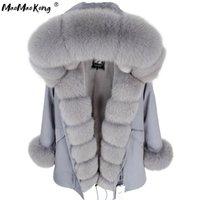 Maomaokong Winter Women Grey Natural Real Fox Chaqueta de piel con capucha gruesa de moda cálida abrigo de piel real Long Parkas Negro Impermeable 201217