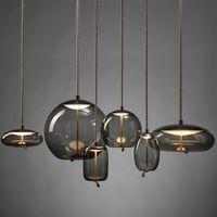 عقدة الزجاج قلادة الأنوار الإضاءة الشمال الحد الأدنى led مصمم غرفة المعيشة شنقا مصباح الإبداعية بريق lammada كاميرا