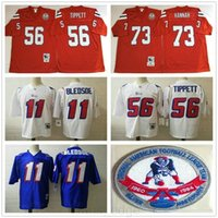 NCAA 1984 ретро # 56 Andre Tippett Vintage Football Jersey Shisted # 73 Джон Ханна # 11 Draw Bledsoe Blue Red White Thereys Рубашки S-3XL