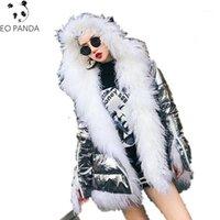 Mulheres para baixo parkas mulheres inverno luxo real mongolia carneiros casaco de pele desgaste prata pato espesso quente casaco branco casacos feminino1