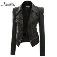 Jaquetas femininas atacado-kinikiss moda mulheres casaco de couro preto casaco outono sexy steampunk motocicleta falsa fêmea gótico casaco1