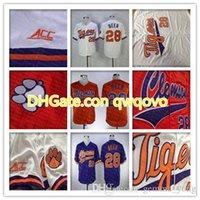 ClemsonKaplanlar Koleji Beyzbol Formaları Seth Bira 28 EvYol uzakta turuncu beyaz 100% dikişli logolar gömlek iyi quanlity
