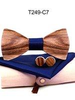 Arco laços Handmade Madeira Sólida qualidade Zebra Laço De Madeira Europeia e American Style Cufflinks Set Creative Presente Embalagem
