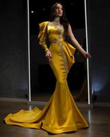 골드 새틴 한 어깨 이브닝 드레스 럭셔리 비즈 라인 석 인어 FPRMAL 댄스 파티 가운 가운 드 SOIREE 두바이 아라비아 드레스