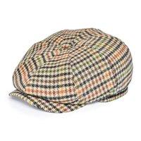 FEINION NEWSBOY CAP FÜR MÄNNER FRAUEN FROMINGBONE 50% Wolle Tweed Flat Caps Gelb Grün Kabbies Fahrer Hut 068 201216