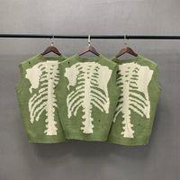 Pulls pour hommes Kapital Vert Lâche Squelette d'os Pull Swecheur Hommes Femme Bonne Qualité High Street Dommages de dégâts Vintage Vêtements Tricots