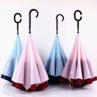 Polka Dot Anti UV paraguas invertidas inversa inversa plegable de doble capa paraguas auto soporte soleado lluvia paraguas para coche dhf3545