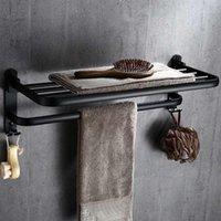 Black Towel Stage Space Алюминиевые стойки Элегантное Черное полотенце Стеллаж Отель Ванная комната Подвесная Комплект Бар Настенный крепление / Свободный Punch