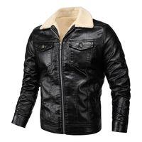 Men's Fur & Faux Fashion Brand Retro PU Jackets 2021 Men Slim Fit Motorcycle Leather Jacket Outwear Male Warm Bomber Outdoor Coat