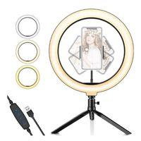 Кольцевая фотография Selfie 26см телефон с штативным макияжем видео лампы Стенд YouTube Light Lighting Cell Studio Держатель с Live RixTB
