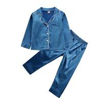 2020 criança criança criança menino menina pijama pijamas cetim seda confortável conjunto sólido sleepwear camisola lj201216
