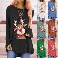 Sweat-shirt de cerf mignon de Noël Top rond sweats en vrac tops T-shirt à manches longues Hiver automne chemisier pullover1