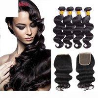 8A Paquetes de cabello humanos con cierre de encaje Color natural Cabello virgen brasileño 4 paquetes con cierre y cabello bebé onda de cuerpo con cierre