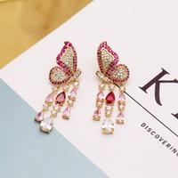 Neue Stil Koreanische Marke Luxus Micro-Inlaid Zirkon Schmetterling 18K Gold Überzogene Tropfen Ohrringe Temperament Frauen S925 Silber Nadel Ohrringe