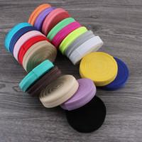 """50 yards / lot 5/8 """"(15mm) 20colors glänzende feste Falte über elastische Ribbon Foe für Kinder Mädchen Elastische Stirnbänder Haarkrawatten Hairbow LJ201226"""