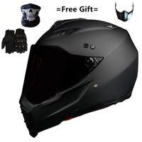 Mate Black Dual Sport Off Road Motorcycle Charmet Dirt Bike ATV D.O.T Сертифицированный (м, синий) Полное лицо Casco для Moto Sport1