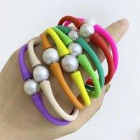 Бисером, пряди 18 см длиной 9-11 мм эдисон натуральный пресноводный жемчужный силиконовый браслет красочный резиновый браслет1