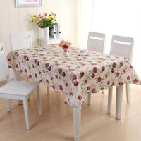 Floral Print Tablecloth PVC Waterproof Oilproof Tablecloth K...