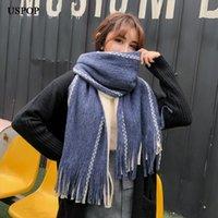 Scarves USPOP Fashion Women Stor Lång Kvinna Färg Blockering Tassel Scarf Vinter Tjock Faux Cashmere SCAF