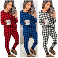 여성 디자이너 잠옷 간단한 클래식 격자 무늬 가정 착용 가을 겨울 긴팔 탑 스 풀오버 바지 두 조각 복장 3 색 E112304