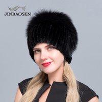 Bonnet / Casquettes de crâne Jinbaosen Chapeau de fourrure russe Otter avec une mode combinée de laine tricotée de laine de laine d'hiver