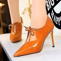 Vestido Zapatos BigTree Sexy Lace Up Proff V Cut Mujeres Fiesta Trabajo Patente Cuero Punta de Punta Punta Tacones Altos Bombas Mujer Zipper Finas Botas cortas