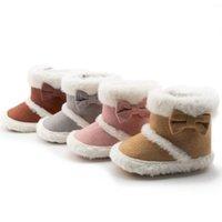 First Walkers Carino Bowknot Inverno Baby Girl Boots Stivali da neve Addensare Scarpe da prewalker solence morbide nate