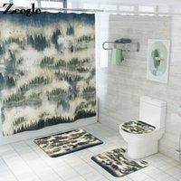 Klasik doğal desen banyo mat ve duş perdesi seti banyo halı mat tuvalet kaymaz ayak emici banyo halı