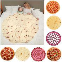 Yetişkin ve Çocuklar için Pizza Battaniyesi Yenilik Gerçekçi Pizzalar Gıda Yumuşak Flanel Battaniye Atmak HH9-3695