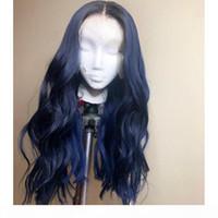 # 1bt # bleu couleur bleu racines brésiliennes revenus cheveux humains pleine dentelle perruque ombre corps bleu ondulé cheveux humains perruques