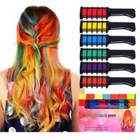 Vente en gros de cheveux temporaires Color Couleur Crak Combs Kit 6 PCS Fashion Colorful Girls Party Party Cosplay Halloween Salon de coiffure Teinture peignants