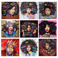 Pinturas Colorido Cabello Negro Mujer Diamante Pintura 5D DIY Plaza Completa / Perfor Redondo Bordado Arte Mosaico Arte Africano Decoración