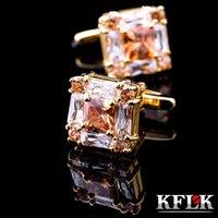 Joyería de KFLK para hombres de alta calidad de alta calidad de gemelos de oro cuadrados camisas Gemelos de regalo de boda de moda Invitados 201109